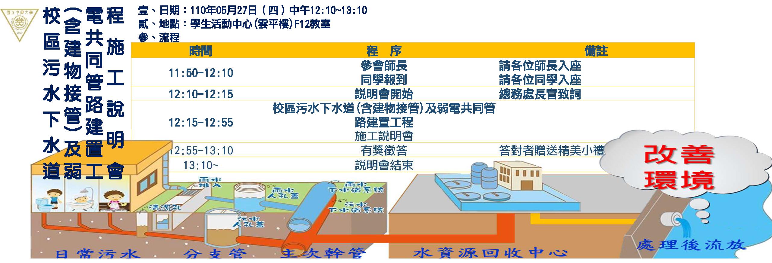 1100527 校區污水下水道(含建物接管)及弱電共同管路建置工程施工說明會